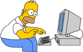 Homer Simpson at a compter